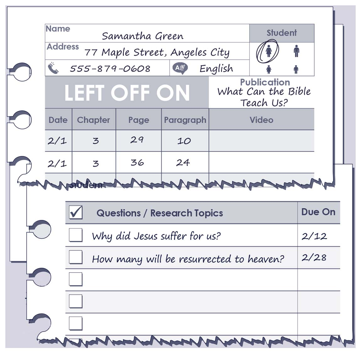 Return Visit and Service Record book for Jehovah's Witnesses